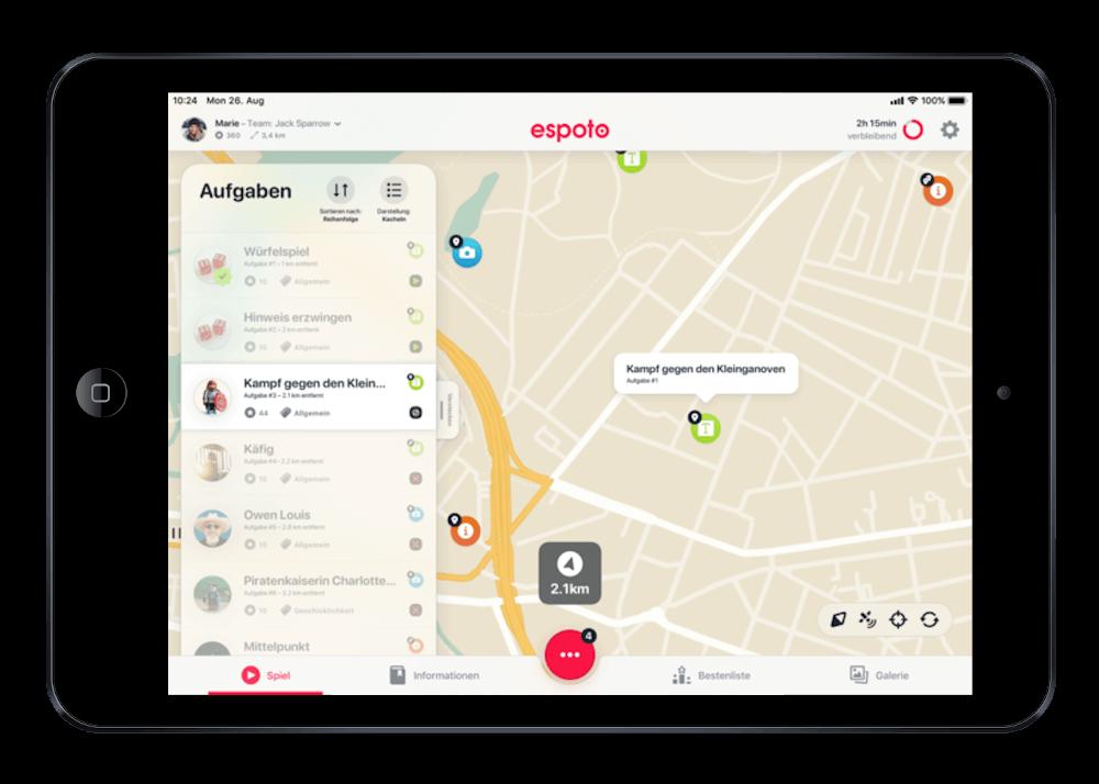schnitzeljagd app iPad kartenansicht